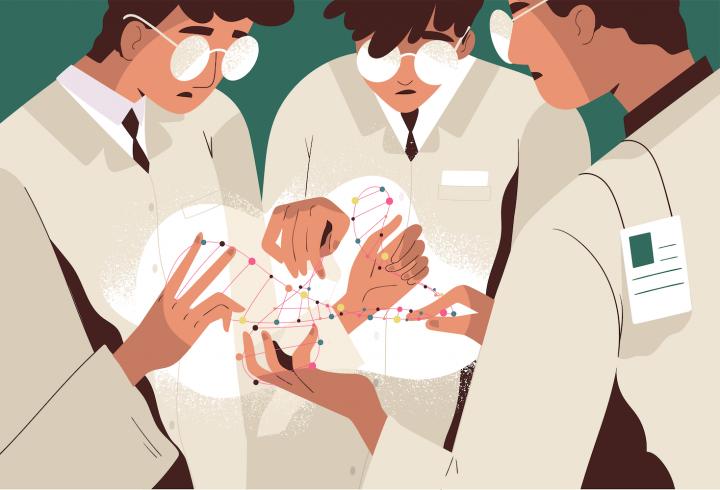 Predictibil în medicină: Concept cu medici analizând o moleculă