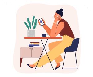 Femeie ascultând conținut audio
