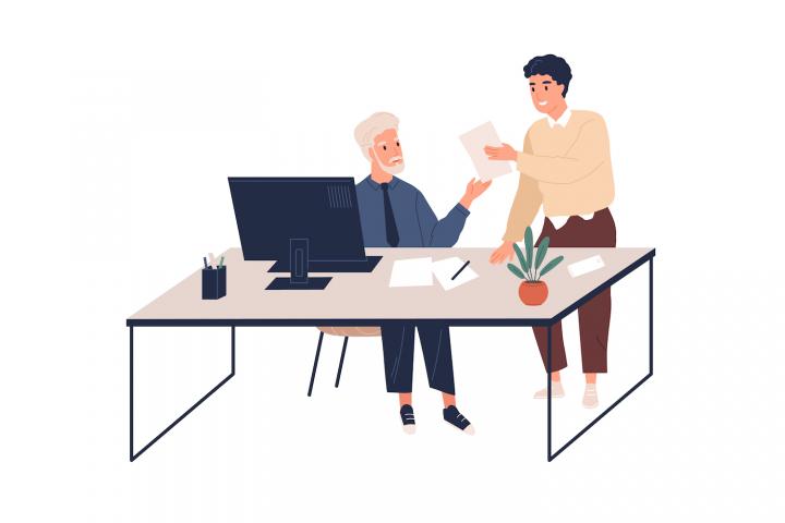 Cum să delegi - doi bărbați într-un birou