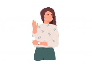 """Femeie care gesticulează un """"nu"""""""
