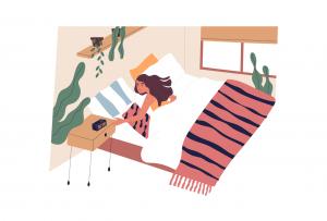 Femeie dimineața, apăsând alarma