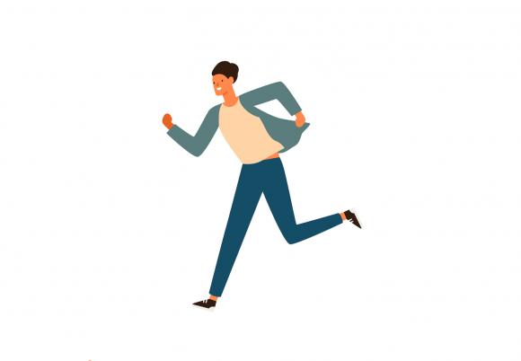 Bărbat care aleargă spre un obiectiv