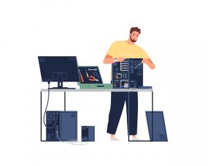 Bărbat care repară un sistem de calculatoare