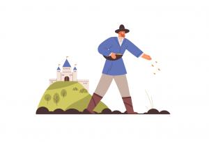 Bărbat pe câmp