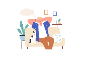 Bărbat care se relaxează pe canapea